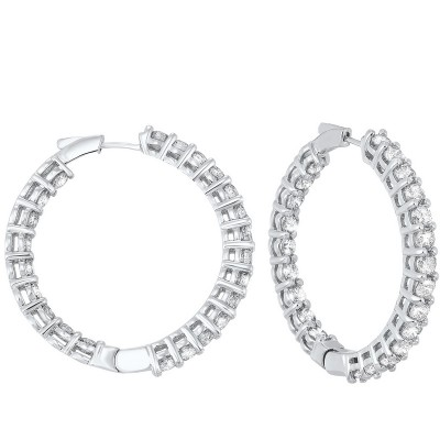 Diamond Inside Out Round 14k White Gold Hoop Earrings (10 ctw)