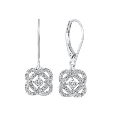 Diamond Infinity Love Heart Knot Dangle Earrings in 14k White Gold (1/2ctw)