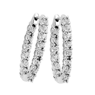 Diamond Inside Out Starburst Oval Hoop Earrings in 14k White Gold (3/4 ctw)