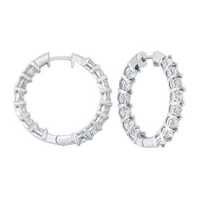 Diamond Inside Out Chunky Round Hoop Earrings in 14k White Gold (3/4 ctw)