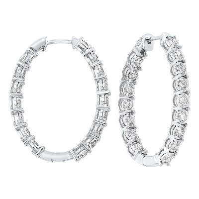 Diamond Starburst Inside Out Oval Hoop Earrings in 14k White Gold (3 ctw)