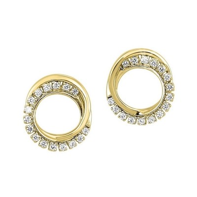 Diamond Double Eternity Circle Stud Earrings in 14k Yellow Gold