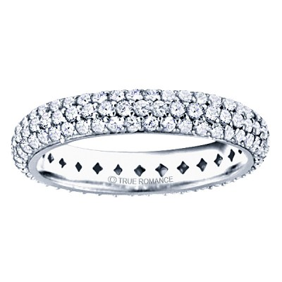 Etr804-14k White Gold Round Diamond Pave Set Eternity Band