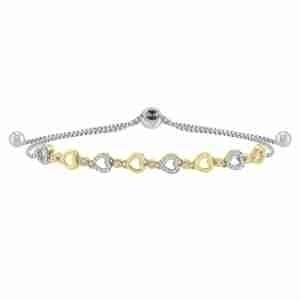 Diamond Encrusted Heart Pattern Bolo Bracelet in Sterling Silver- Adjustable (1/8ctw)