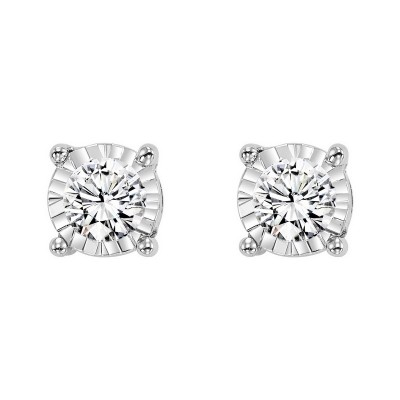 Diamond Solitaire Starburst Stud Earrings in 14k White Gold (1/7ctw)