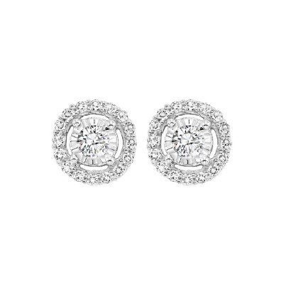 Diamond Solitaire Starburst Stud Earrings in 14k White Gold (3/4ctw)