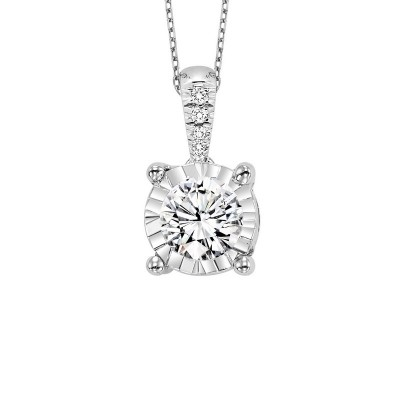 Diamond Starburst Solitaire Pendant Necklace in 14k White Gold (3/4ctw)