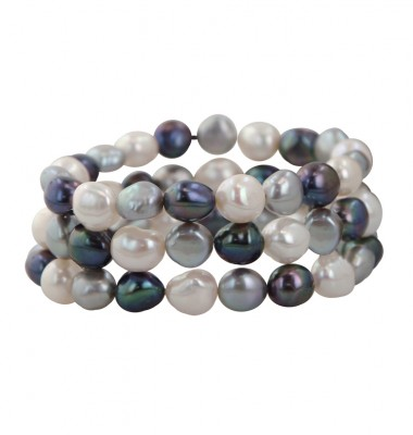 Set of 3 9-10mm Baroque Black White and Gray Freshwater Cultured Pearl Stretch Bracelets