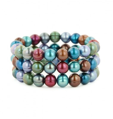 Set of 3 8-9mm Mosaic Round Ringed Freshwater Cultured Pearl Stretch Bracelets