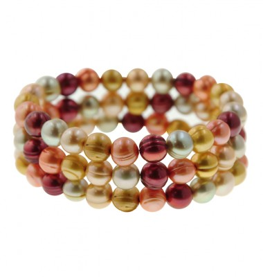 Set of 3 8-9mm Sunrise Ringed Freshwater Cultured Pearl Stretch Bracelets