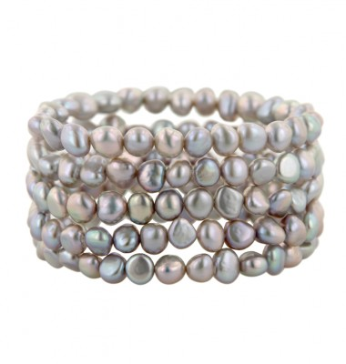Set of 5 6-7mm Gray Baroque Freshwater Cultured Pearl Stretch Bracelets