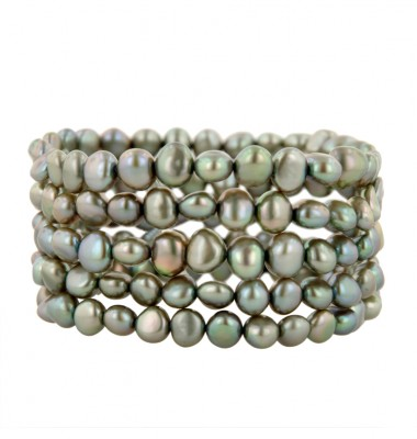 Set of 5 6-7mm Pistachio Baroque Freshwater Cultured Pearl Stretch Bracelets