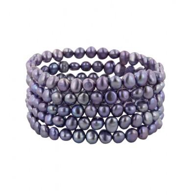 Set of 5 6-7mm Baroque Violet Freshwater Cultured Pearl Stretch Bracelets