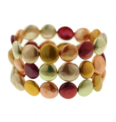 Set of 3 12+mm Sunrise Baroque Coin Freshwater Cultured Pearl Stretch Bracelets