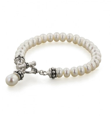 Sterling Silver 7.5-8mm White Freshwater Cultured Pearl 7.75 Pallini Toggle Bracelet