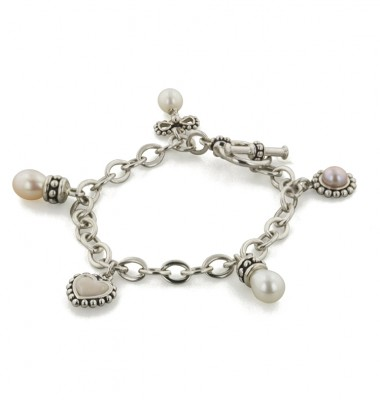 Sterling Silver 4-7mm Multi Pastel Freshwater Cultured Pearl 6.25 Inch Charm Bracelet
