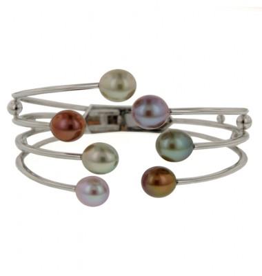 Sterling Silver 8-9mm Rainforest Freshwater Cultured Pearl Bangle Bracelet