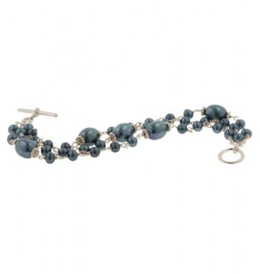 Sterling Silver 4.5-9mm Black Freshwater Cultured Pearl 7.5 Inch Bracelet