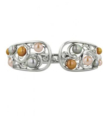 Sterling Silver 5-8mm Metallic Freshwater Cultured Pearl Bangle Bracelet