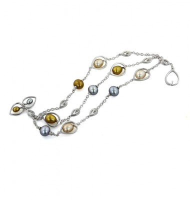 Sterling Silver 4-8.5mm Metallic Freshwater Cultured Pearl 7.5 Inch Toggle Bracelet