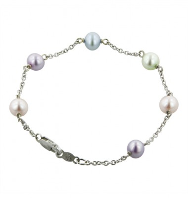 Sterling Silver 5.5-6mm Potato Candy Collection Freshwater Cultured Pearl 6 Inch Bracelet