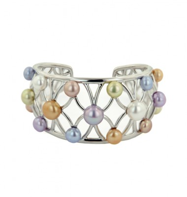 Sterling Silver 6-10mm Wildflower Button Freshwater Cultured Pearl Bangle Bracelet