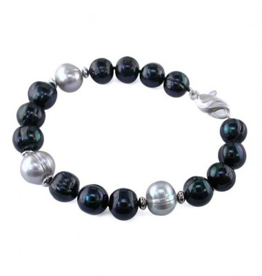 Sterling Silver 10-11mm Jet and Gray Ringed Freshwater Cultured Pearl Bracelet