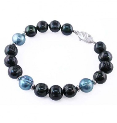 Sterling Silver 10-11mm Jet and Teal Ringed Freshwater Cultured Pearl Bracelet