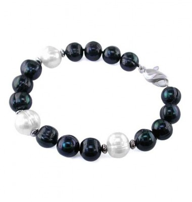 Sterling Silver 10-11mm Jet and White Ringed Freshwater Cultured Pearl Bracelet