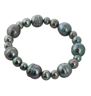 7-12mm Gray Ringed Freshwater Cultured Pearl Stretch Bracelets