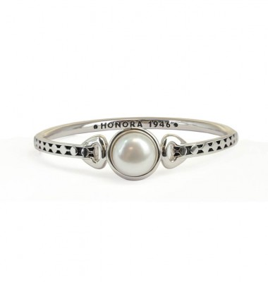 Sterling SIlver 13-13.5mm White Button Freshwater Cultured Pearl Bangle Bracelet