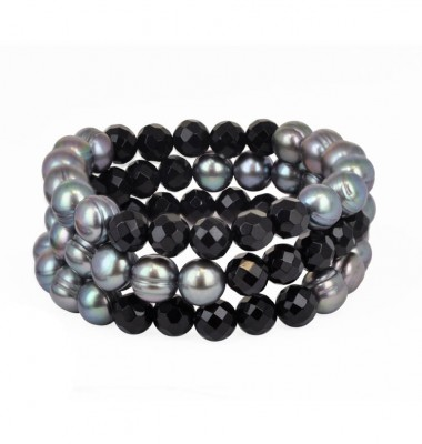 Set of 3 9-10mm Black Freshwater Cultured Pearls and Onyx Stretch Bracelets