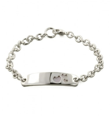 Sterling Silver Pink Mother of Pearl Heart 6 Inch Girls ID Bracelet