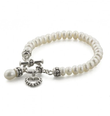 Sterling Silver 5.5-6mm White Freshwater Cultured Pearl 6 Inch Girls Toggle Bracelet