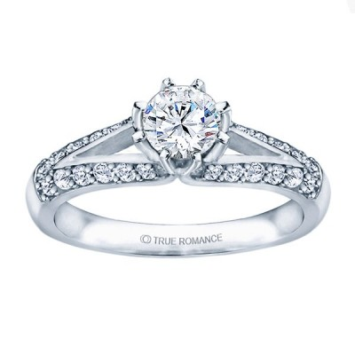 Me677 -14k White Gold Classic Engagement Ring