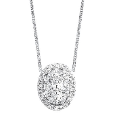 Diamond Starburst Eternity Oval Cluster Pendant Necklace in 14k White Gold (1/4 ctw)