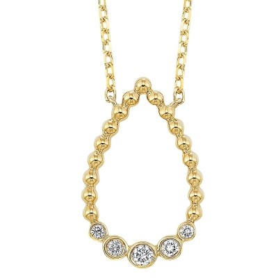 Diamond Teardrop Bead-Ball Pendant Necklace in 14k Yellow Gold (ctw)