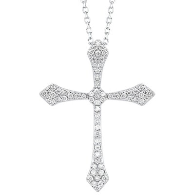 Diamond Celtic Cross Pendant Necklace in 14k White Gold ( ctw)