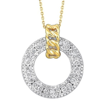 Diamond Triple Eternity Door Knocker Pendant in 14k Two-Tone Gold (3/4 ctw)