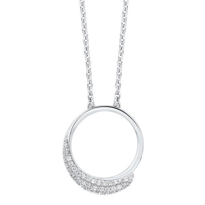 Diamond Pave Eternity Circle Pendant Necklace in Sterling Silver