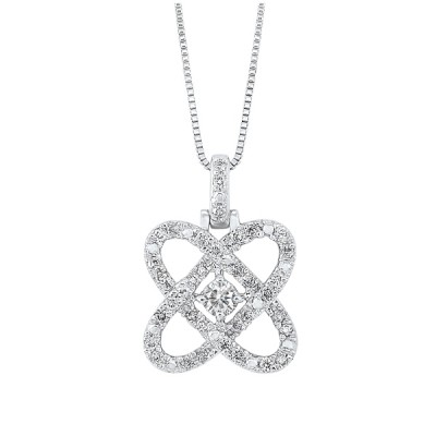 Diamond Infinity Love Heart Knot Pendant Necklace in 14k White Gold (1/4ctw)