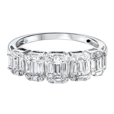 Diamond 1/4 Eternity Baguette Stackable Wedding Band in 14k White Gold (1 ctw)
