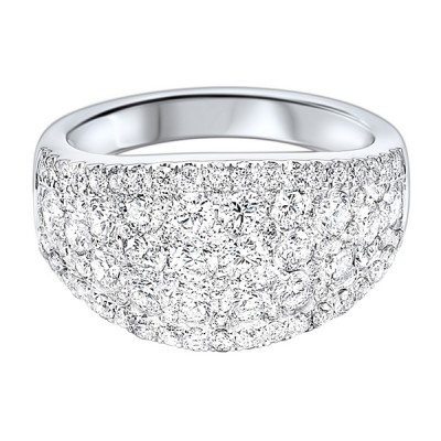Diamond French Pave Tapered Ring in 14k White Gold (2 1/4 ctw)