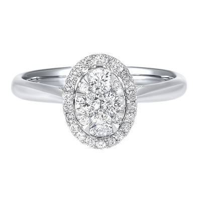 Diamond Oval Halo Cluster Ring in 14k White Gold (1/2 ctw)
