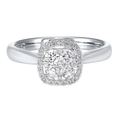 Diamond Halo Cluster Cushion Ring in 14k White Gold (1/2 ctw)