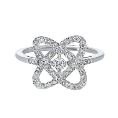 Diamond Infinity Love Heart Knot Promise Ring in 14k White Gold (1/4ctw)