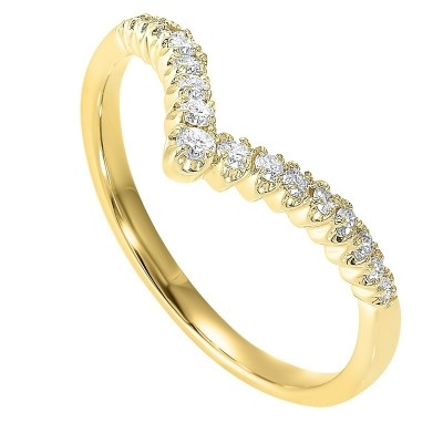 Diamond V-Shaped Heart Stackable Band in 14k Yellow Gold ( ctw)