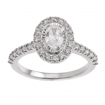 Oval Starburst Halo Diamond Engagement Ring in 14k White Gold (1ctw)