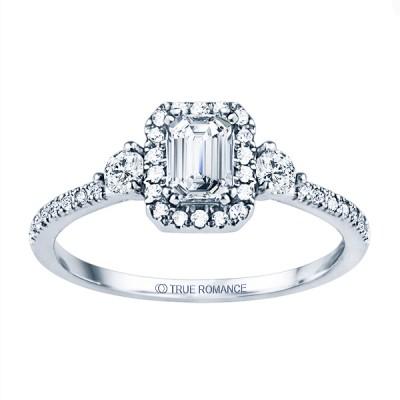 Rm1345e-14k White Gold Emerald Cut Halo Diamond Engagement Ring