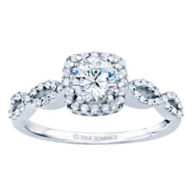 Rm1390-14k White Gold Round Cut Halo Diamond Infinity Engagement Ring